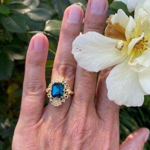 VTG 925 Blue Emerald Cut CZ RING
